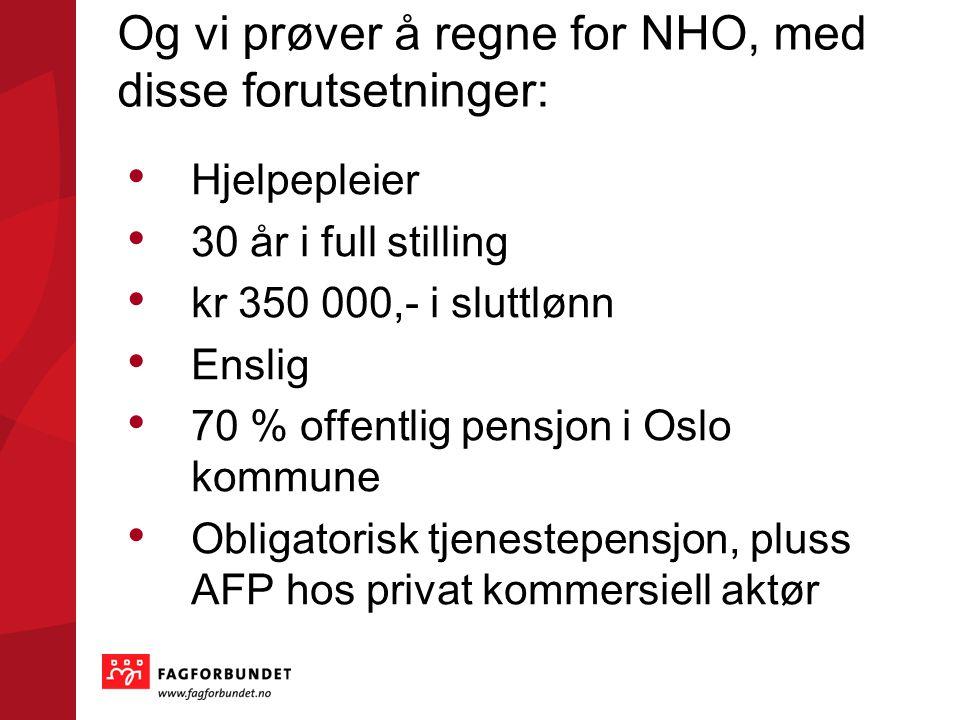 Og vi prøver å regne for NHO, med disse forutsetninger: • Hjelpepleier • 30 år i full stilling • kr 350 000,- i sluttlønn • Enslig • 70 % offentlig pensjon i Oslo kommune • Obligatorisk tjenestepensjon, pluss AFP hos privat kommersiell aktør
