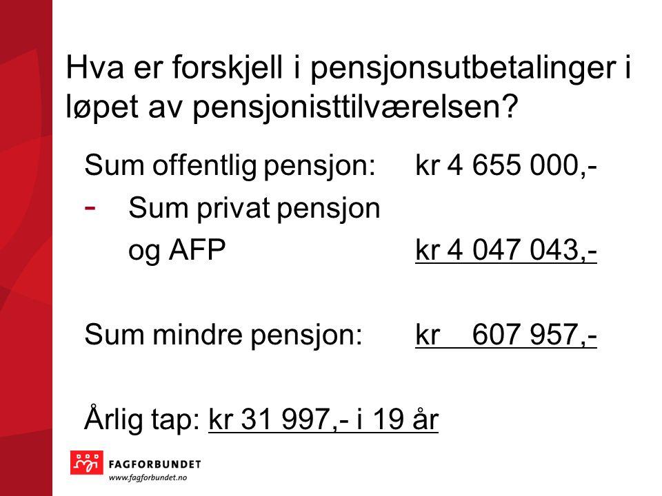 Hva er forskjell i pensjonsutbetalinger i løpet av pensjonisttilværelsen? Sum offentlig pensjon:kr 4 655 000,- - Sum privat pensjon og AFPkr 4 047 043
