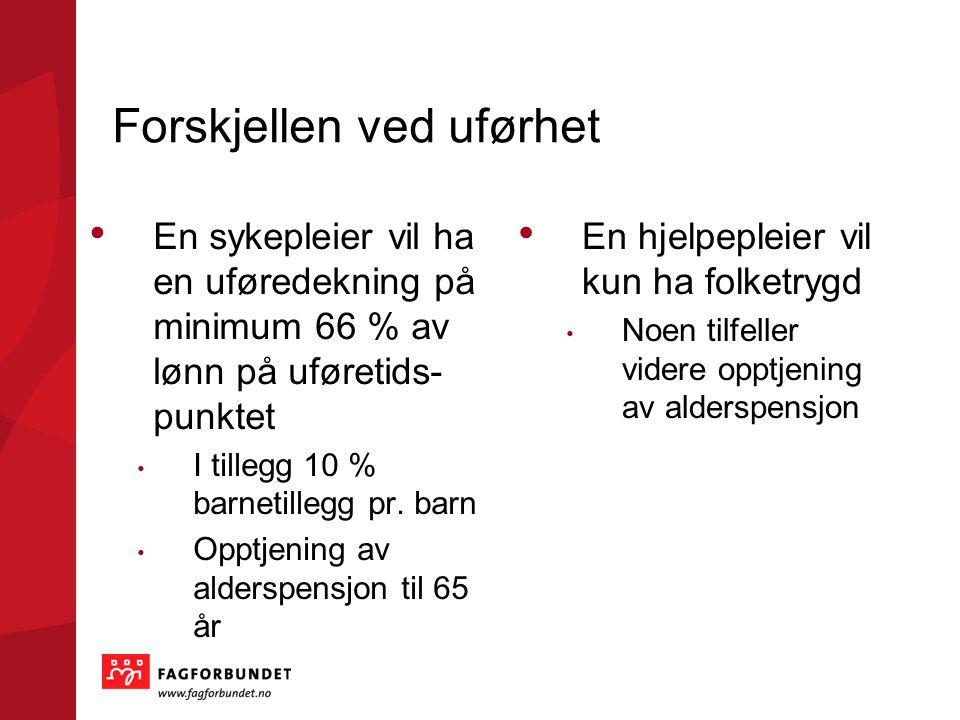 Forskjellen ved uførhet • En sykepleier vil ha en uføredekning på minimum 66 % av lønn på uføretids- punktet • I tillegg 10 % barnetillegg pr. barn •