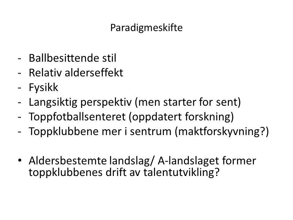 Paradigmeskifte -Ballbesittende stil -Relativ alderseffekt -Fysikk -Langsiktig perspektiv (men starter for sent) -Toppfotballsenteret (oppdatert forsk