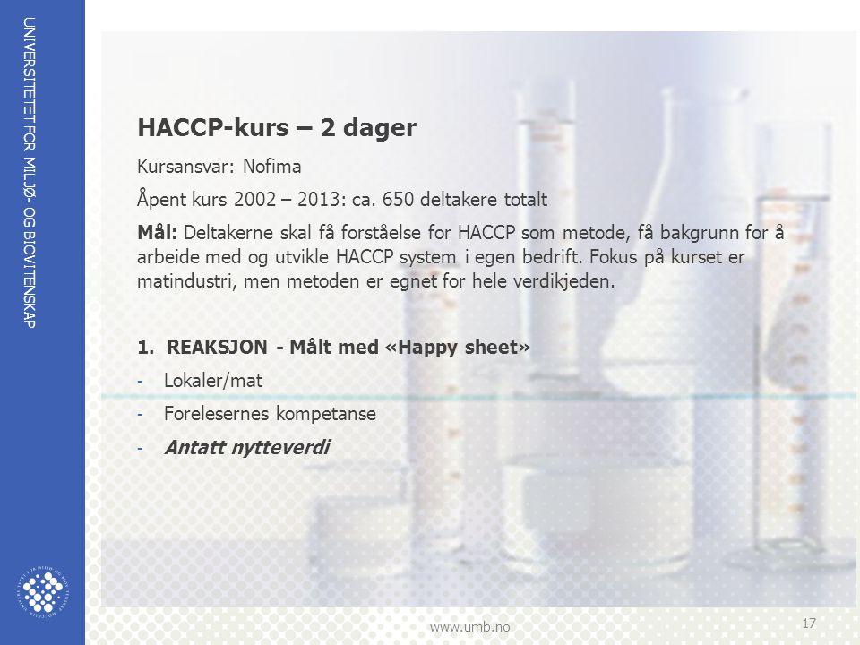 UNIVERSITETET FOR MILJØ- OG BIOVITENSKAP www.umb.no 17 HACCP-kurs – 2 dager Kursansvar: Nofima Åpent kurs 2002 – 2013: ca.