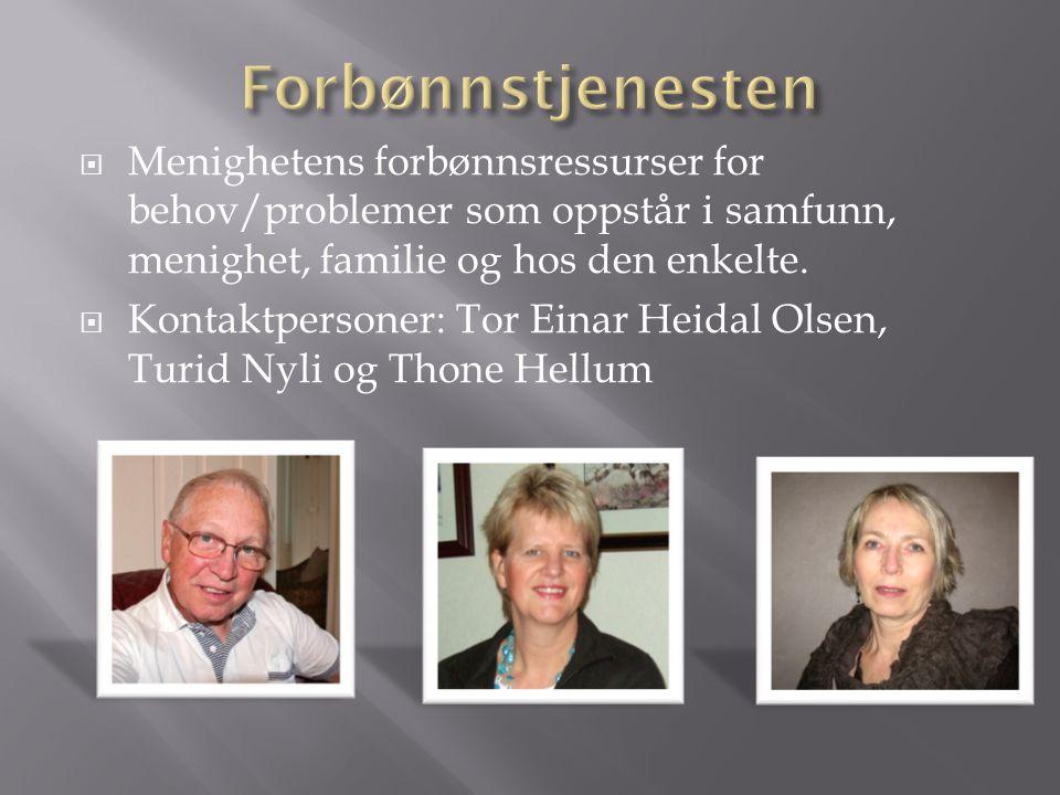 Menighetens forbønnsressurser for behov/problemer som oppstår i samfunn, menighet, familie og hos den enkelte.  Kontaktpersoner: Tor Einar Heidal O