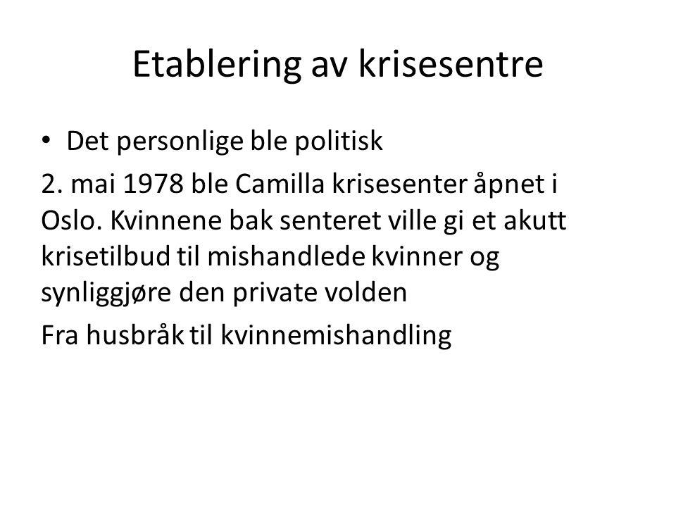 Etablering av krisesentre • Det personlige ble politisk 2. mai 1978 ble Camilla krisesenter åpnet i Oslo. Kvinnene bak senteret ville gi et akutt kris