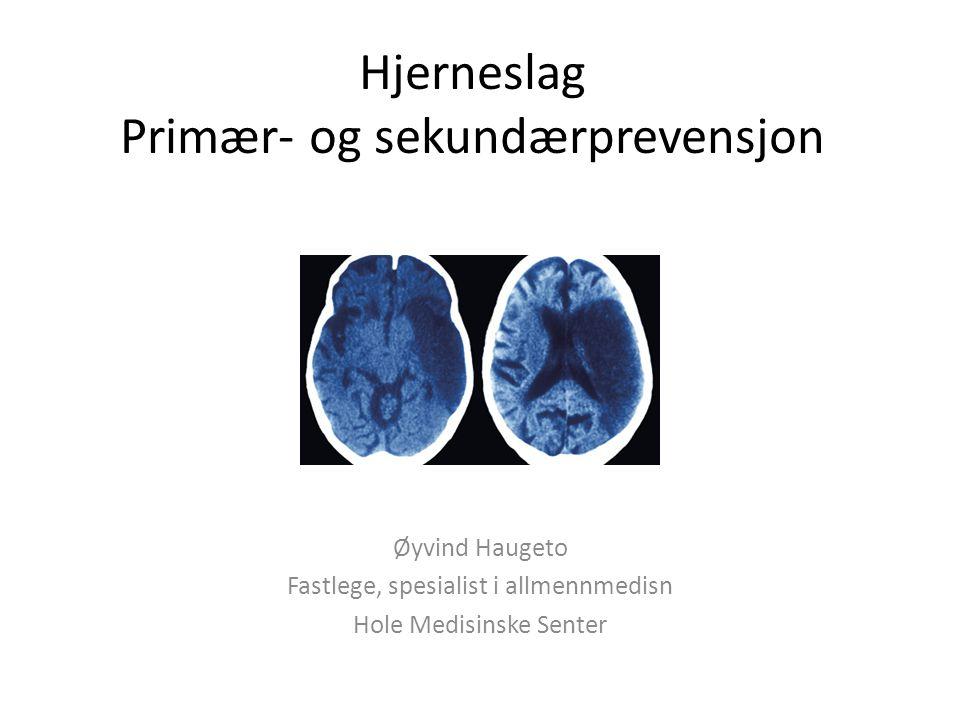 Hjerneslag Primær- og sekundærprevensjon Øyvind Haugeto Fastlege, spesialist i allmennmedisn Hole Medisinske Senter