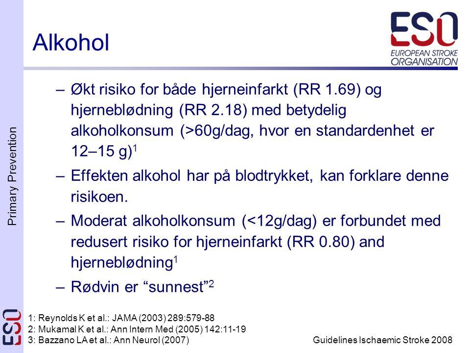Primary Prevention Guidelines Ischaemic Stroke 2008 –Økt risiko for både hjerneinfarkt (RR 1.69) og hjerneblødning (RR 2.18) med betydelig alkoholkonsum (>60g/dag, hvor en standardenhet er 12–15 g) 1 –Effekten alkohol har på blodtrykket, kan forklare denne risikoen.