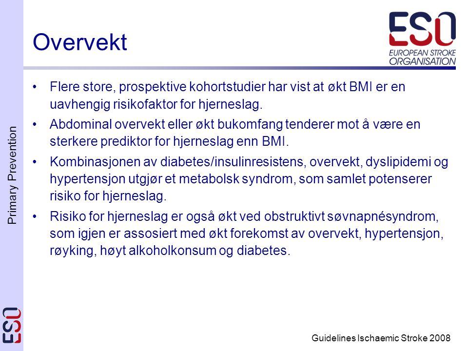 Primary Prevention Guidelines Ischaemic Stroke 2008 Overvekt •Flere store, prospektive kohortstudier har vist at økt BMI er en uavhengig risikofaktor