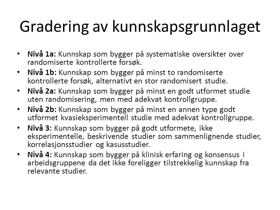 Gradering av kunnskapsgrunnlaget • Nivå 1a: Kunnskap som bygger på systematiske oversikter over randomiserte kontrollerte forsøk. • Nivå 1b: Kunnskap