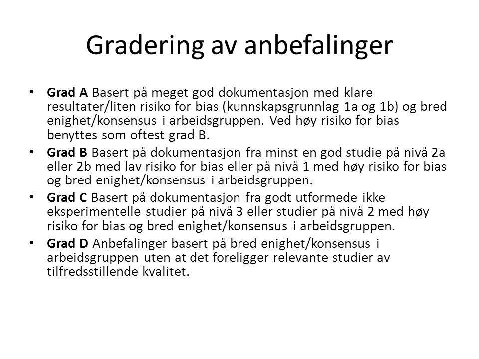 Gradering av anbefalinger • Grad A Basert på meget god dokumentasjon med klare resultater/liten risiko for bias (kunnskapsgrunnlag 1a og 1b) og bred e