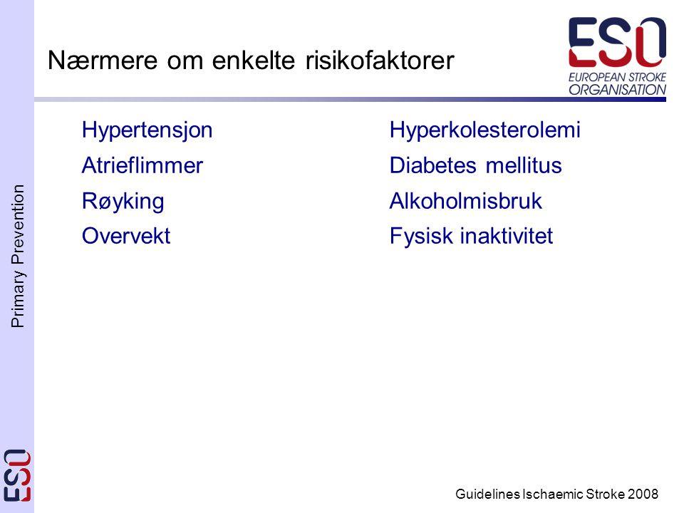 Primary Prevention Guidelines Ischaemic Stroke 2008 Nærmere om enkelte risikofaktorer HypertensjonHyperkolesterolemi AtrieflimmerDiabetes mellitus Røyking Alkoholmisbruk Overvekt Fysisk inaktivitet
