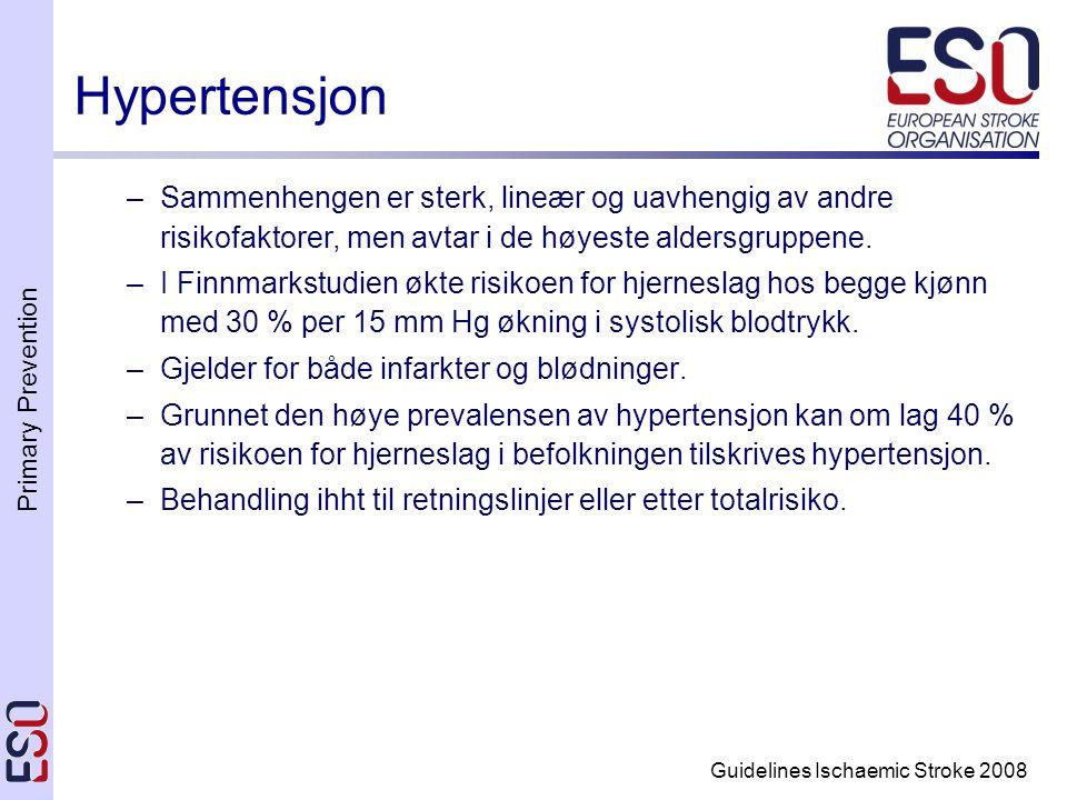 Primary Prevention Guidelines Ischaemic Stroke 2008 Hypertensjon –Sammenhengen er sterk, lineær og uavhengig av andre risikofaktorer, men avtar i de h