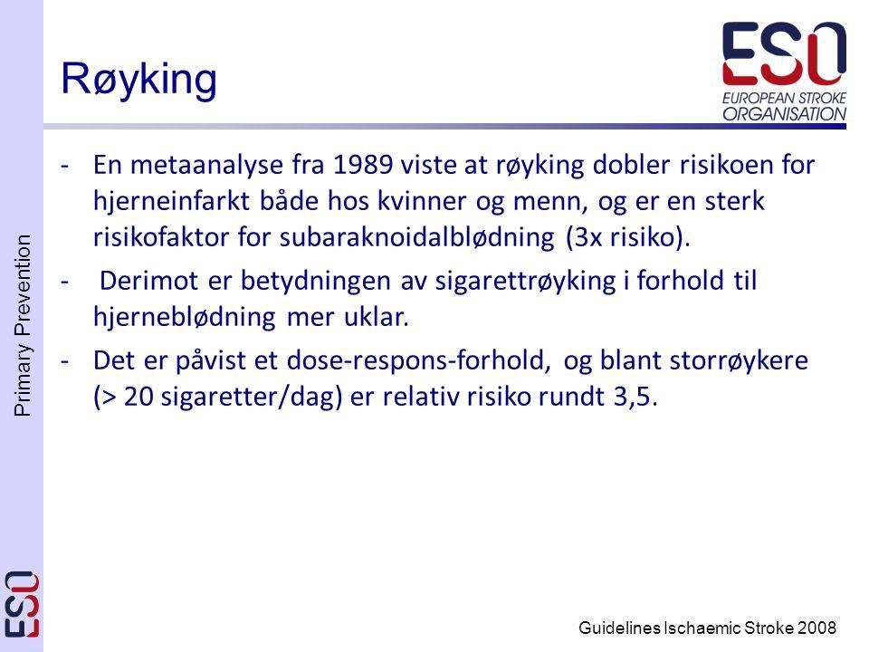 Primary Prevention Guidelines Ischaemic Stroke 2008 -En metaanalyse fra 1989 viste at røyking dobler risikoen for hjerneinfarkt både hos kvinner og menn, og er en sterk risikofaktor for subaraknoidalblødning (3x risiko).