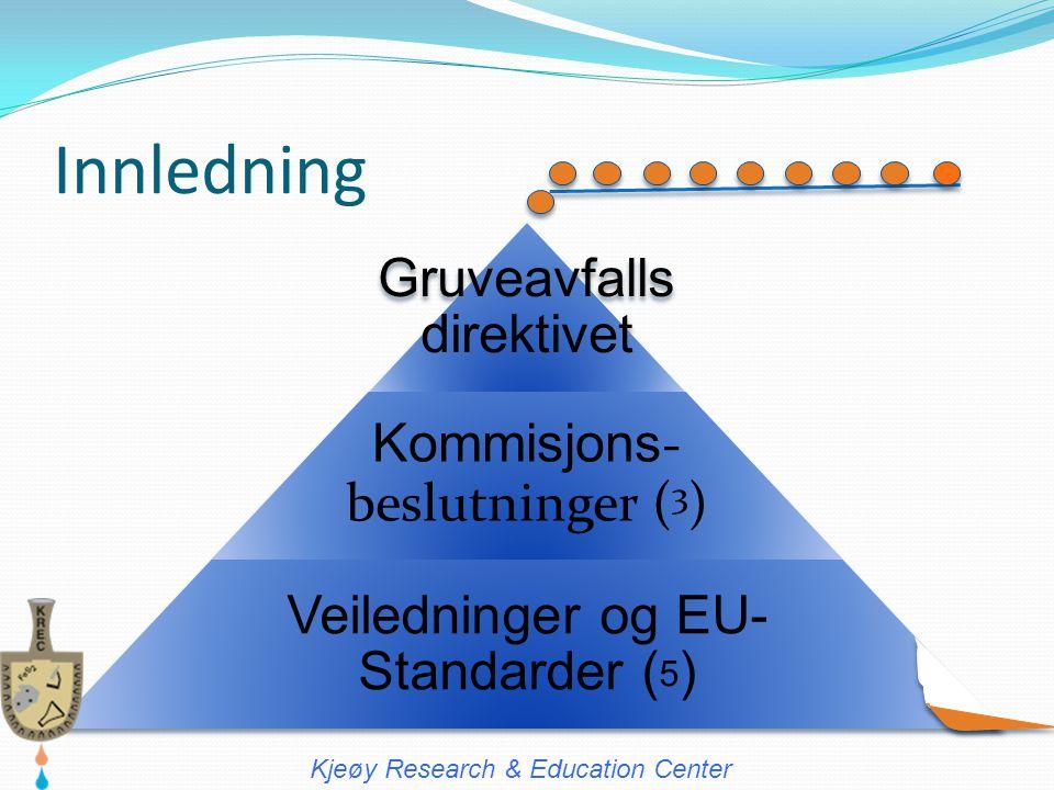 Innledning Gruveavfalls direktivet Kommisjons - beslutninger ( 3 ) Veiledninger og EU- Standarder ( 5 ) Kjeøy Research & Education Center