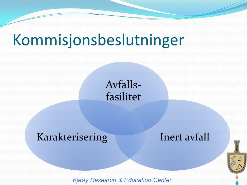 Kommisjonsbeslutninger Avfalls- fasilitet Inert avfallKarakterisering Kjeøy Research & Education Center