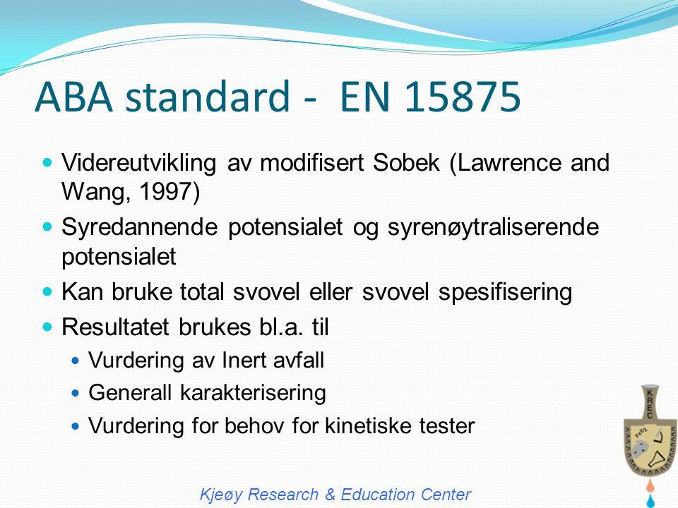 ABA standard - EN 15875  Videreutvikling av modifisert Sobek (Lawrence and Wang, 1997)  Syredannende potensialet og syrenøytraliserende potensialet