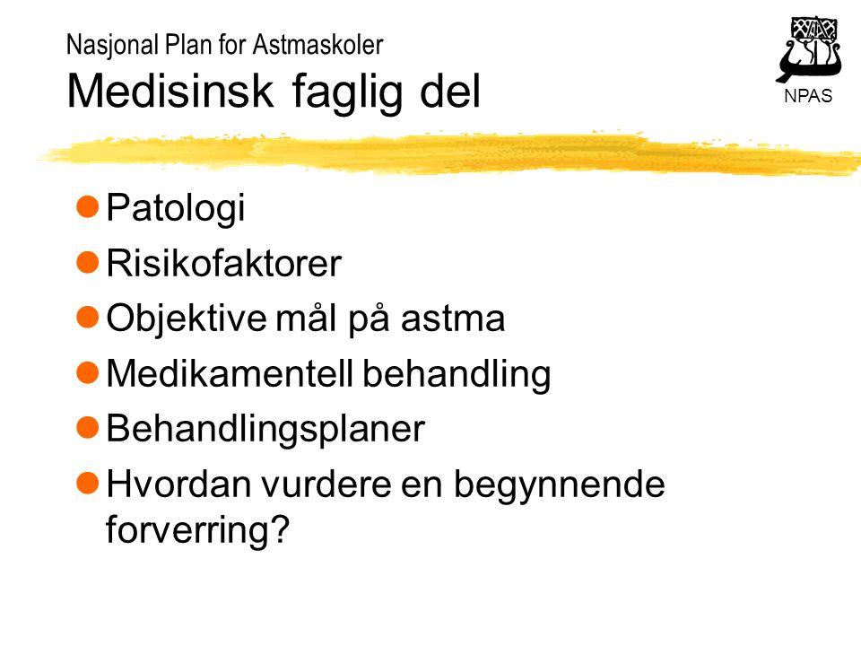 NPAS Nasjonal Plan for Astmaskoler Medisinsk faglig del lPatologi lRisikofaktorer lObjektive mål på astma lMedikamentell behandling lBehandlingsplaner