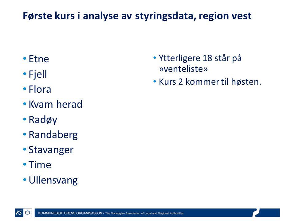 Første kurs i analyse av styringsdata, region vest • Etne • Fjell • Flora • Kvam herad • Radøy • Randaberg • Stavanger • Time • Ullensvang • Ytterlige