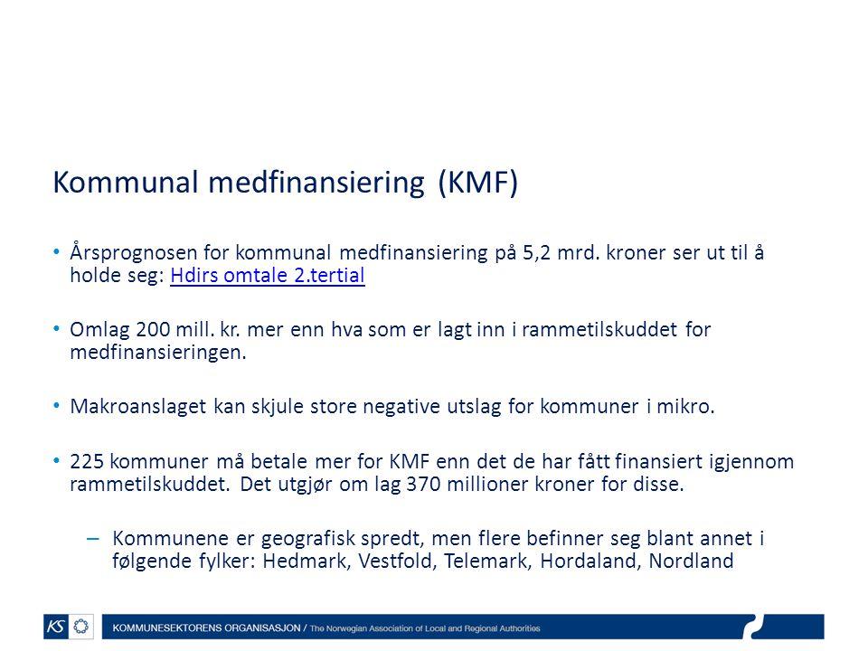 Kommunal medfinansiering (KMF) • Årsprognosen for kommunal medfinansiering på 5,2 mrd. kroner ser ut til å holde seg: Hdirs omtale 2.tertialHdirs omta