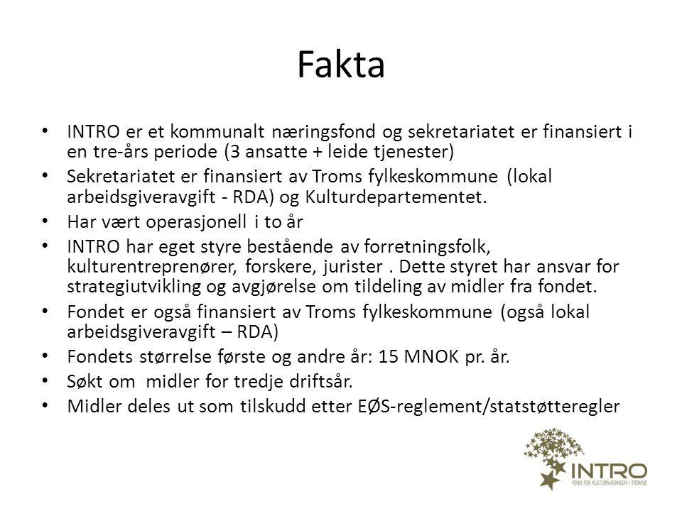 Fakta • INTRO er et kommunalt næringsfond og sekretariatet er finansiert i en tre-års periode (3 ansatte + leide tjenester) • Sekretariatet er finansi
