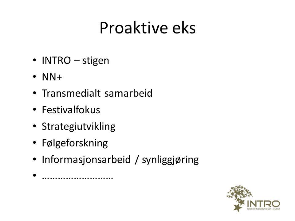 Proaktive eks • INTRO – stigen • NN+ • Transmedialt samarbeid • Festivalfokus • Strategiutvikling • Følgeforskning • Informasjonsarbeid / synliggjørin