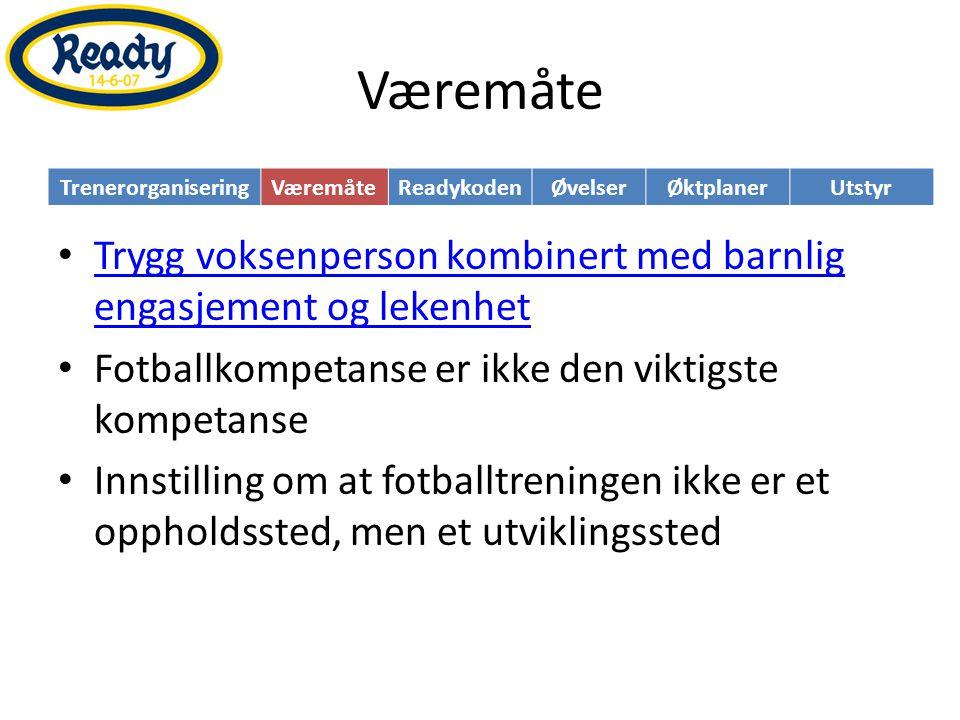 Readykoden TrenerorganiseringVæremåteReadykodenØvelserØktplanerUtstyr • Barn trenger tydelige rammer • Utvikling av mer enn bare fotballferdigheter