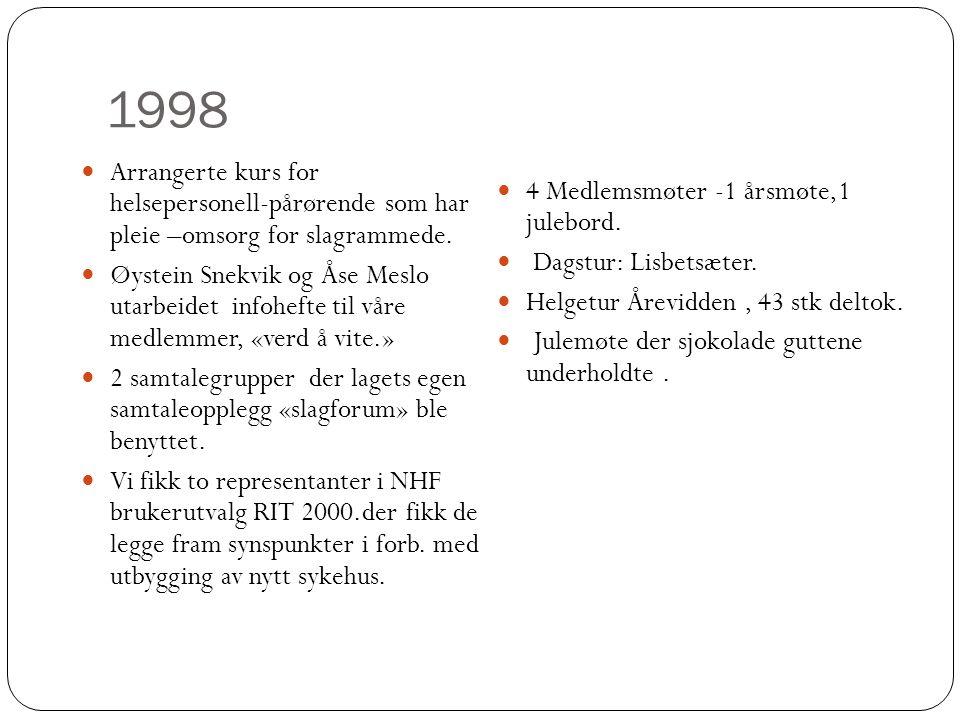 1998  Arrangerte kurs for helsepersonell-pårørende som har pleie –omsorg for slagrammede.  Øystein Snekvik og Åse Meslo utarbeidet infohefte til vår