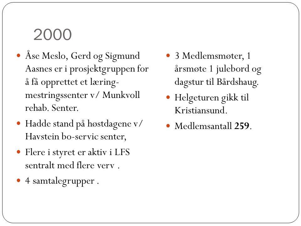 2000  Åse Meslo, Gerd og Sigmund Aasnes er i prosjektgruppen for å få opprettet et læring- mestringssenter v/ Munkvoll rehab. Senter.  Hadde stand p