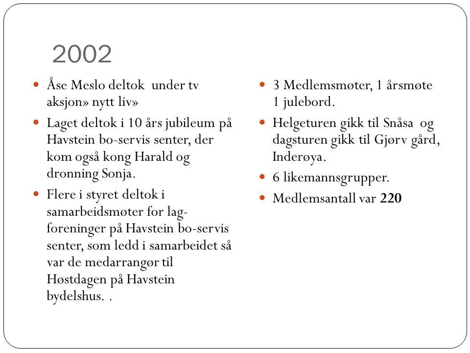 2002  Åse Meslo deltok under tv aksjon» nytt liv»  Laget deltok i 10 års jubileum på Havstein bo-servis senter, der kom også kong Harald og dronning