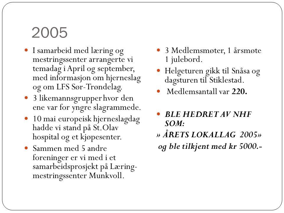 2005  I samarbeid med læring og mestringssenter arrangerte vi temadag i April og september, med informasjon om hjerneslag og om LFS Sør-Trøndelag. 