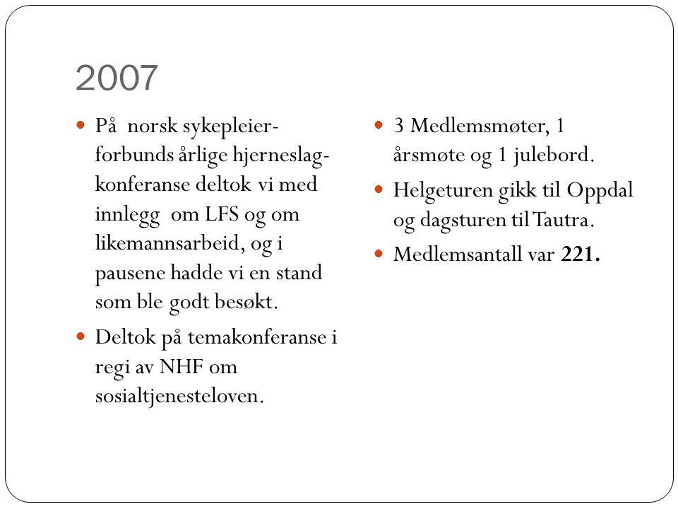 2007  På norsk sykepleier- forbunds årlige hjerneslag- konferanse deltok vi med innlegg om LFS og om likemannsarbeid, og i pausene hadde vi en stand