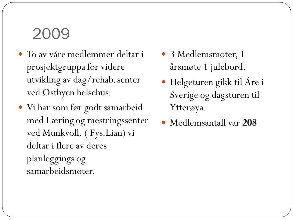 2009  To av våre medlemmer deltar i prosjektgruppa for videre utvikling av dag/rehab. senter ved Østbyen helsehus.  Vi har som før godt samarbeid me