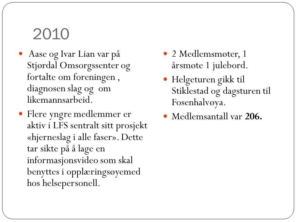 2010  2 Medlemsmøter, 1 årsmøte 1 julebord.  Helgeturen gikk til Stiklestad og dagsturen til Fosenhalvøya.  Medlemsantall var 206.  Aase og Ivar L