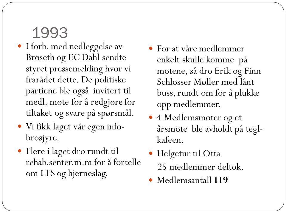 1993  I forb. med nedleggelse av Brøseth og EC Dahl sendte styret pressemelding hvor vi frarådet dette. De politiske partiene ble også invitert til m