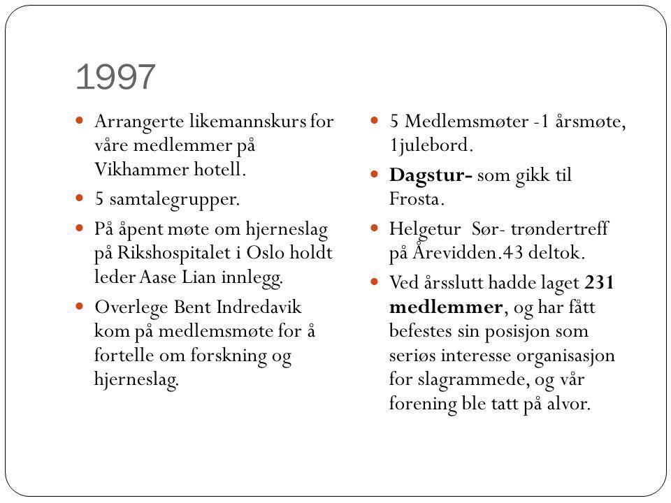 1997  Arrangerte likemannskurs for våre medlemmer på Vikhammer hotell.  5 samtalegrupper.  På åpent møte om hjerneslag på Rikshospitalet i Oslo hol