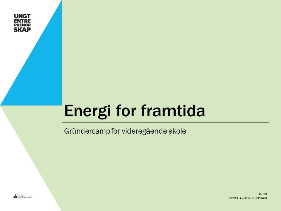 ue.no Energi for framtida Gründercamp for videregående skole FRAMTID - SAMSPILL - SKAPERGLEDE