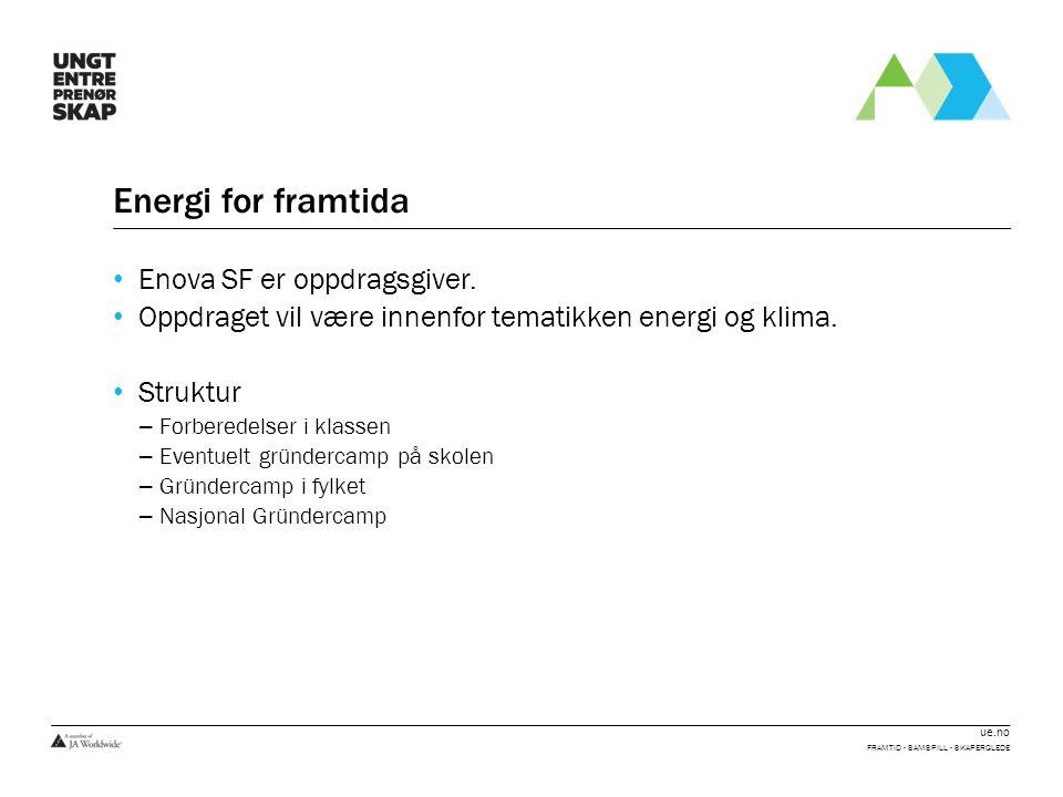 ue.no Energi for framtida • Enova SF er oppdragsgiver. • Oppdraget vil være innenfor tematikken energi og klima. • Struktur – Forberedelser i klassen