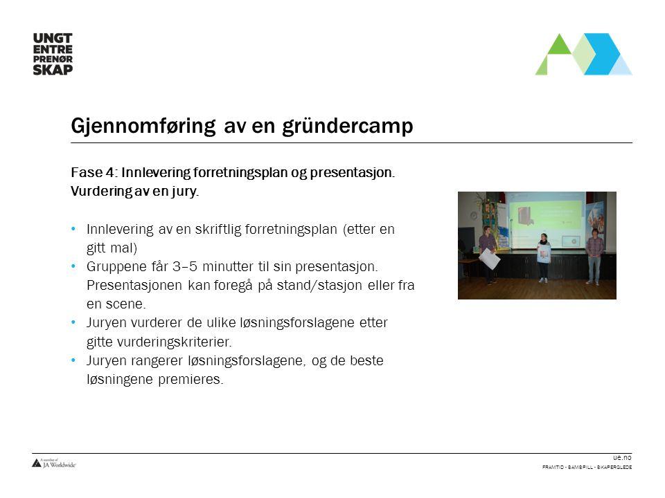 ue.no Gjennomføring av en gründercamp Fase 4: Innlevering forretningsplan og presentasjon. Vurdering av en jury. • Innlevering av en skriftlig forretn