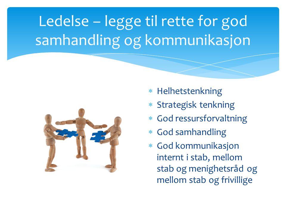 Ledelse – legge til rette for god samhandling og kommunikasjon  Helhetstenkning  Strategisk tenkning  God ressursforvaltning  God samhandling  Go
