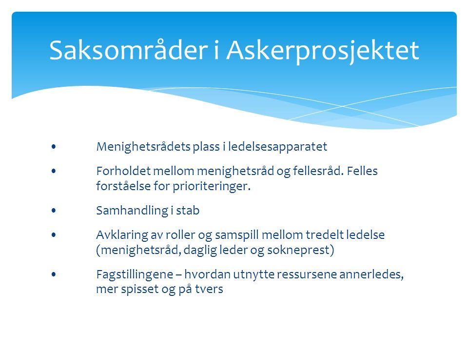 •Menighetsrådets plass i ledelsesapparatet •Forholdet mellom menighetsråd og fellesråd. Felles forståelse for prioriteringer. •Samhandling i stab •Avk
