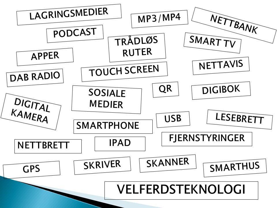 NETTBANK LESEBRETT NETTAVIS IPAD VELFERDSTEKNOLOGI SOSIALE MEDIER NETTBRETT SMARTPHONE LAGRINGSMEDIER APPER TRÅDLØS RUTER DIGIBOK DIGITAL KAMERA FJERN