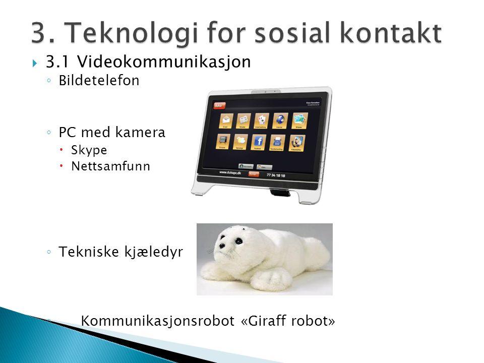  3.1 Videokommunikasjon ◦ Bildetelefon ◦ PC med kamera  Skype  Nettsamfunn ◦ Tekniske kjæledyr ◦ Kommunikasjonsrobot «Giraff robot»