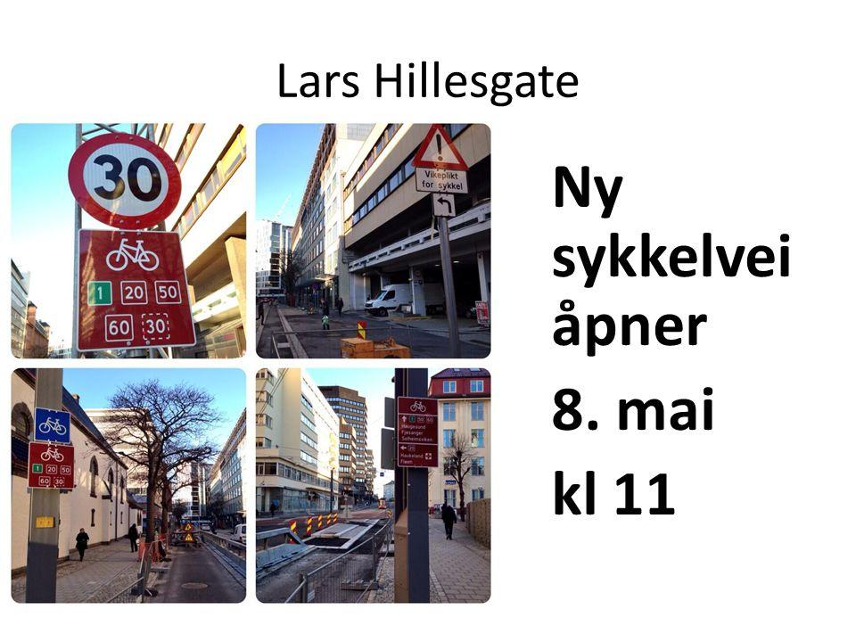 Lars Hillesgate Ny sykkelvei åpner 8. mai kl 11