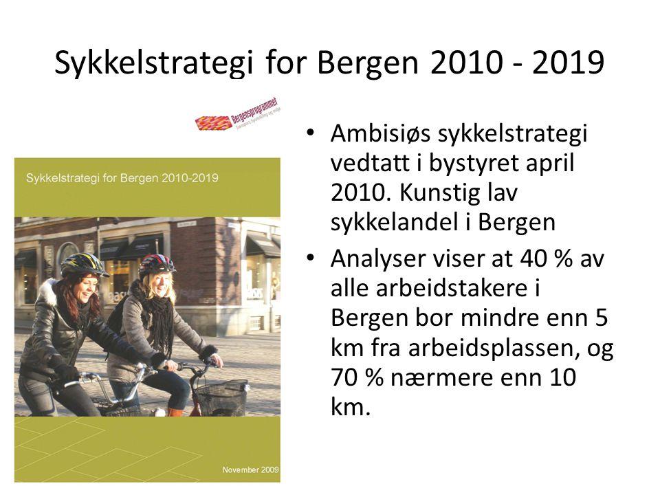 Sykkelstrategi for Bergen 2010 - 2019 • Ambisiøs sykkelstrategi vedtatt i bystyret april 2010.