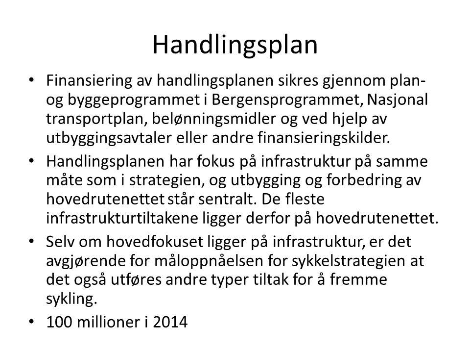 Handlingsplan • Finansiering av handlingsplanen sikres gjennom plan- og byggeprogrammet i Bergensprogrammet, Nasjonal transportplan, belønningsmidler og ved hjelp av utbyggingsavtaler eller andre finansieringskilder.
