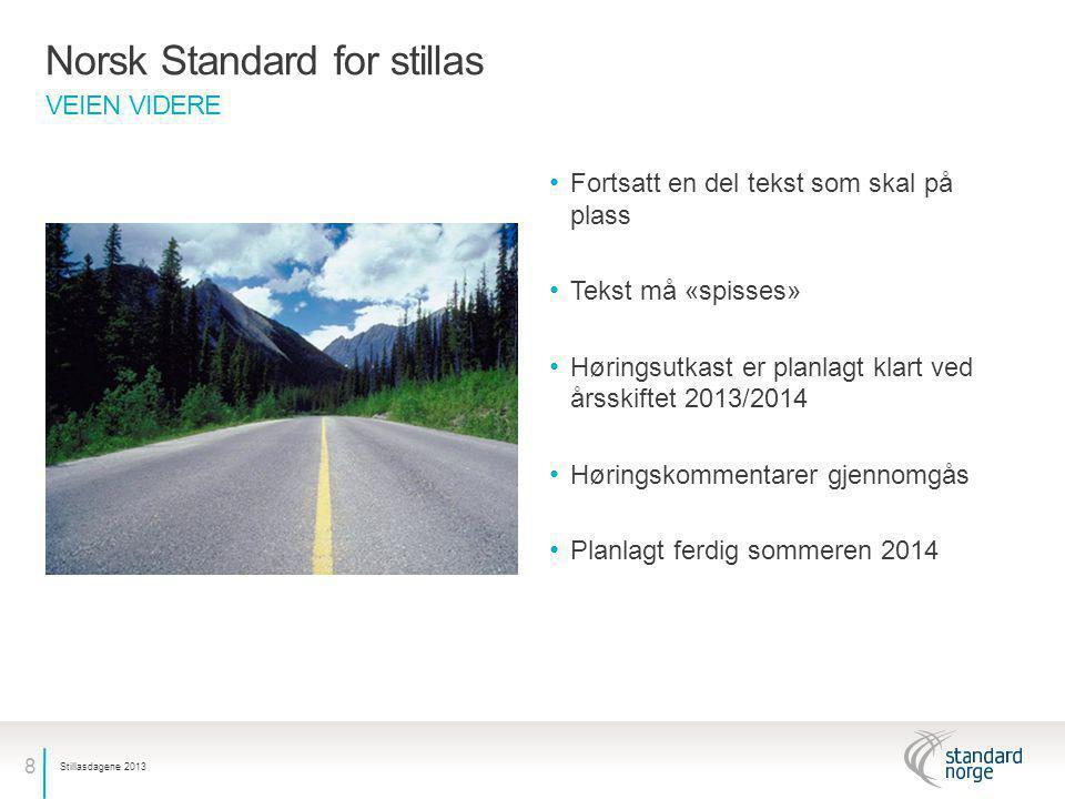 8 VEIEN VIDERE Norsk Standard for stillas • Fortsatt en del tekst som skal på plass • Tekst må «spisses» • Høringsutkast er planlagt klart ved årsskif