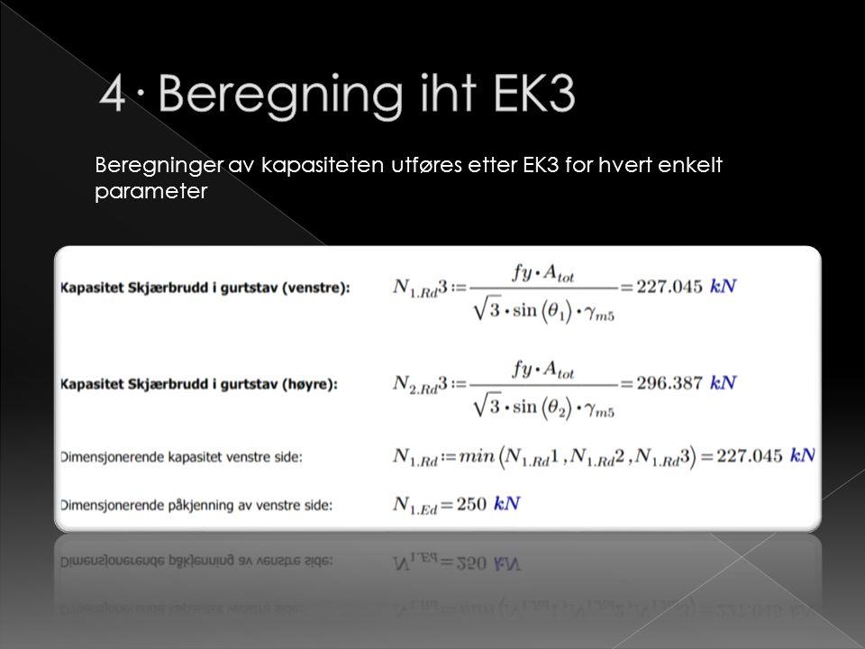 Beregninger av kapasiteten utføres etter EK3 for hvert enkelt parameter