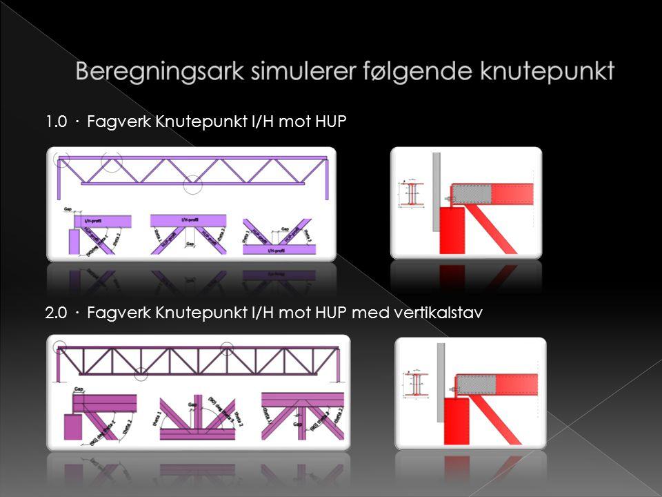 1.0 · Fagverk Knutepunkt I/H mot HUP 2.0 · Fagverk Knutepunkt I/H mot HUP med vertikalstav