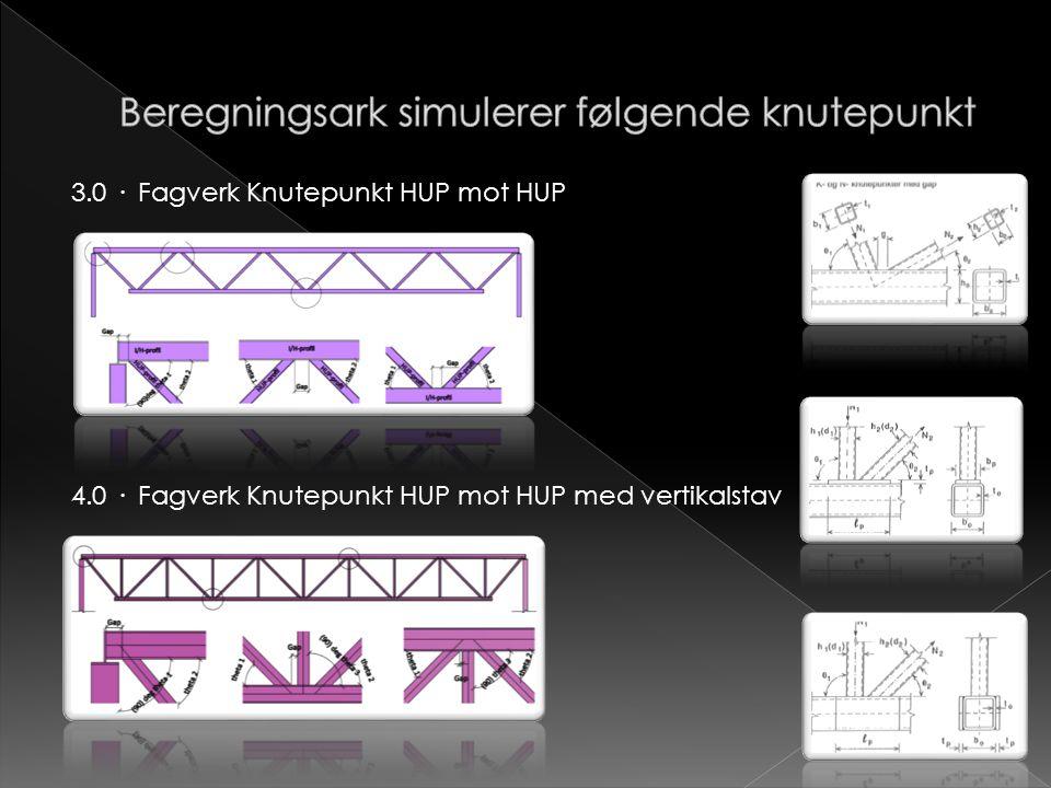 3.0 · Fagverk Knutepunkt HUP mot HUP 4.0 · Fagverk Knutepunkt HUP mot HUP med vertikalstav