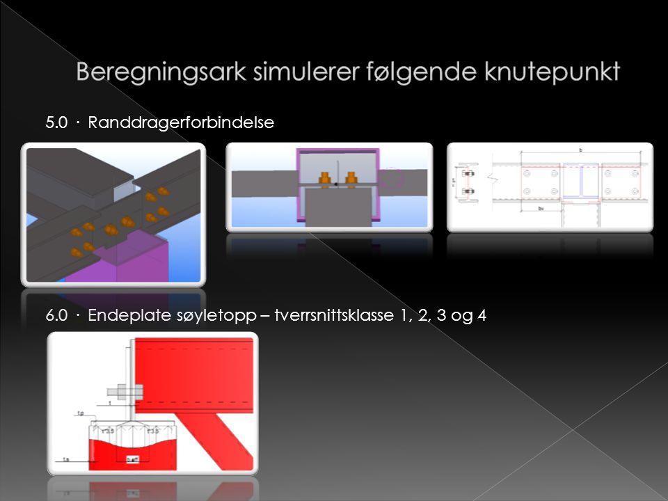 5.0 · Randdragerforbindelse 6.0 · Endeplate søyletopp – tverrsnittsklasse 1, 2, 3 og 4