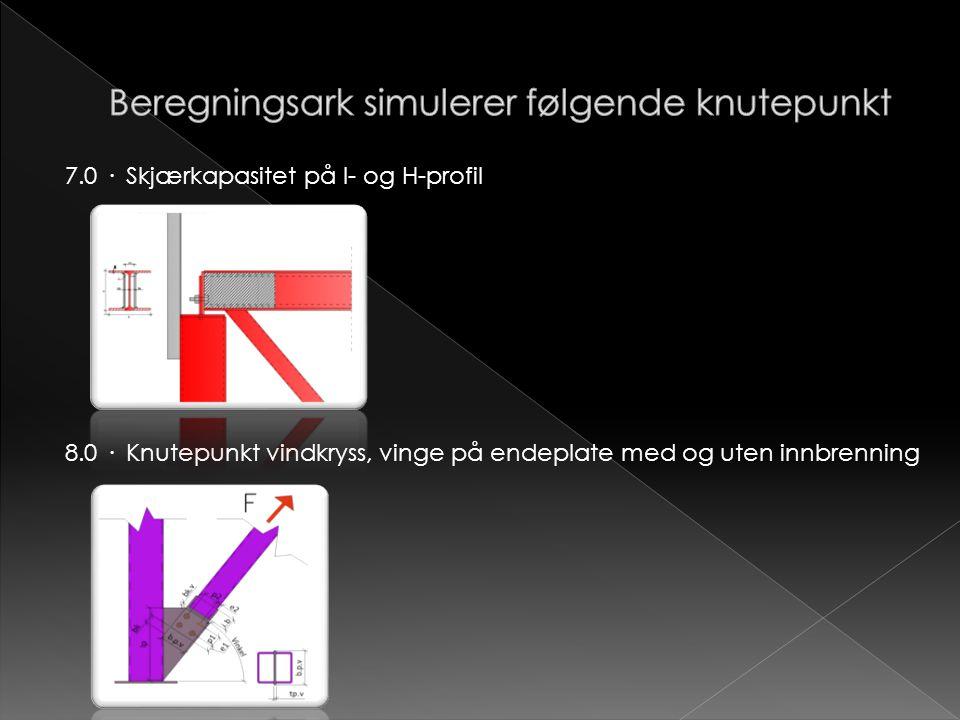 7.0 · Skjærkapasitet på I- og H-profil 8.0 · Knutepunkt vindkryss, vinge på endeplate med og uten innbrenning