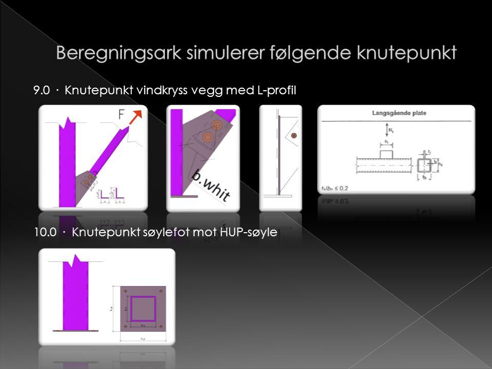 9.0 · Knutepunkt vindkryss vegg med L-profil 10.0 · Knutepunkt søylefot mot HUP-søyle